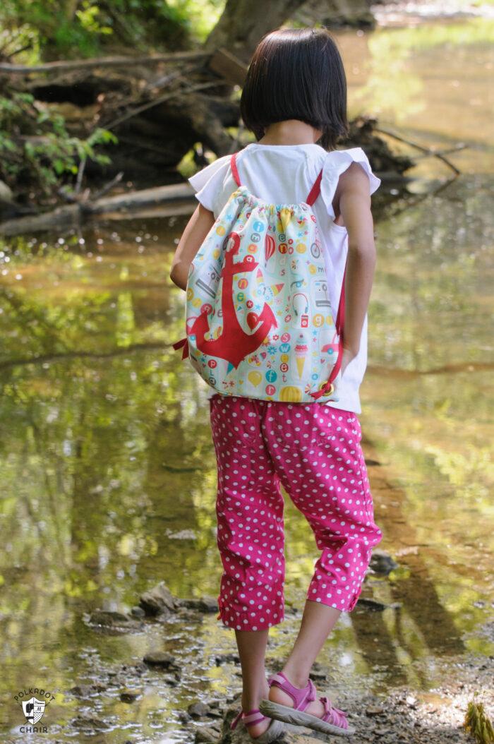 Kids summer drawstring backpack pattern