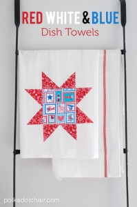 Red White and Blue Dish towels - would be cute to make for the 4th of July!