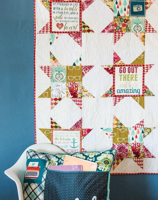 """""""You can do it"""" Quilt - uses printable inspirational quotes for the block centers. From the Project Teen Book."""