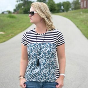 The Liberty Tee, a t-shirt sewing pattern refashion on polkadotchair.com