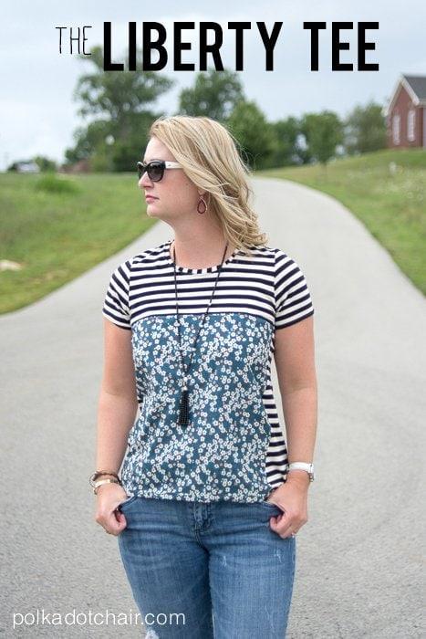 The Liberty Tee, a t-shirt sewing pattern refashion on polkadotchair.com
