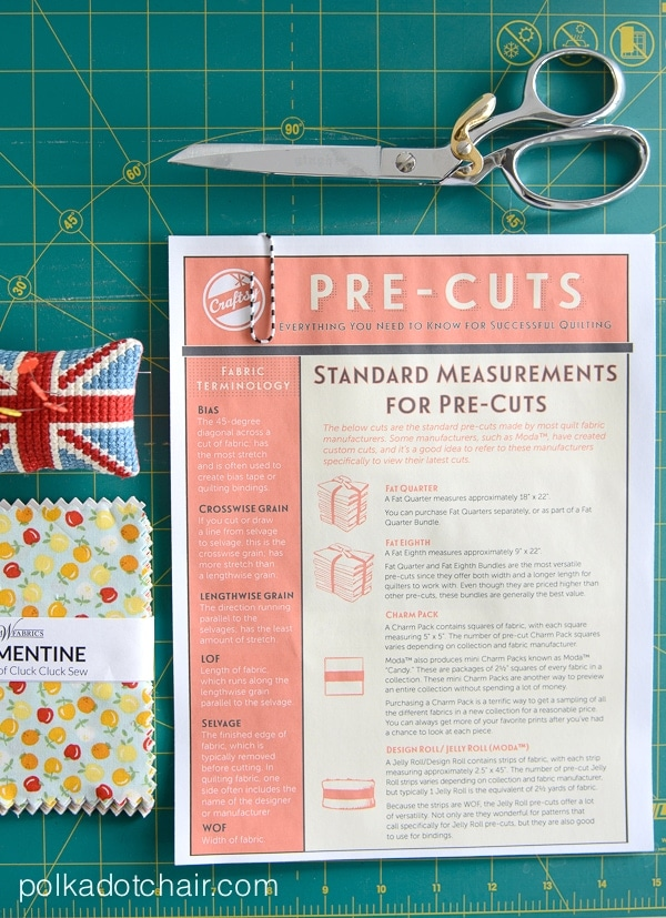 Love precut fabric? Check out this Guide to PreCut Fabrics and Common Quilting Terms.