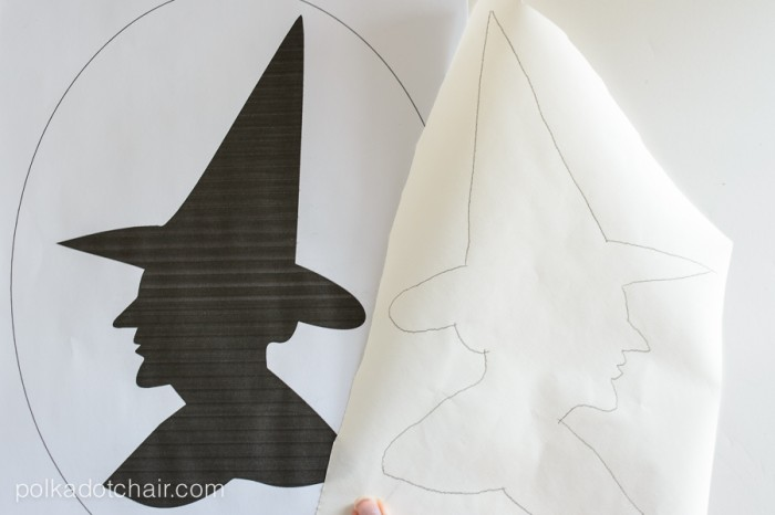"""""""Witches Silhouette"""" A Halloween Pillow Pattern from polkadotchair.com"""