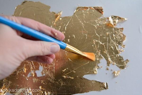 DIY Gold Leaf Stenciled Wood sign
