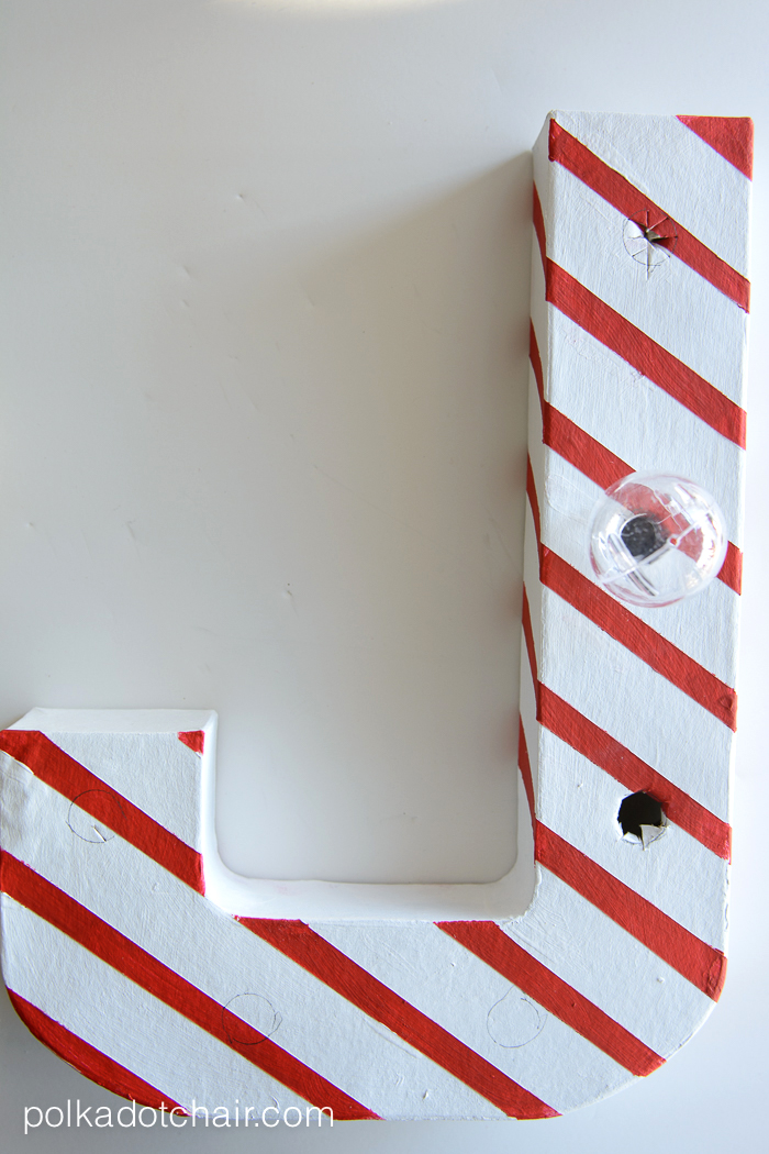 Candy Cane Stripe Christmas DIY Marquee Letters - cute Christmas Decorating Idea, they are made from paper mache letters,