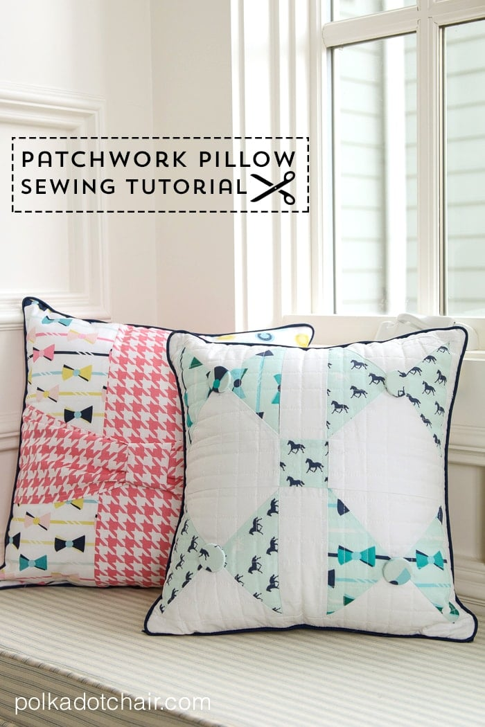 Bow Tie Pillow Sewing Pattern by Melissa Mortenson of polkadotchair.com