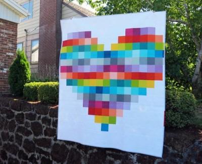 Pixelated Heart Quilt Pattern