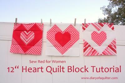 "12"" Heart Block Quilting Tutorial"