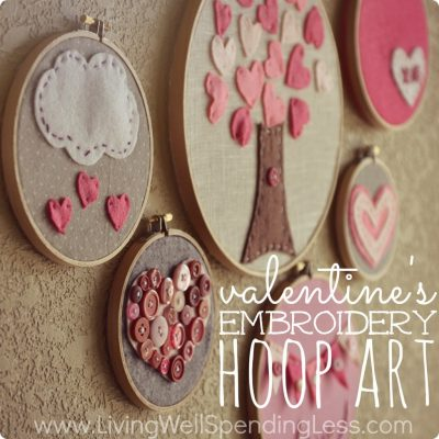 Valentines Day Embroidery Hoop Art