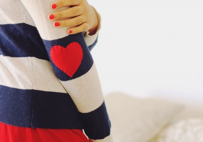 DIY Heart Shaped Elbow Patches, something cute to wear for Valentines Day