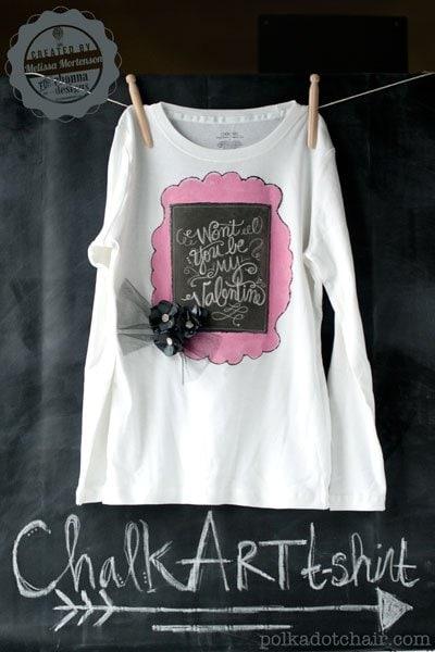 DIY Chalk Art Valentine's Day T-Shirt for kids