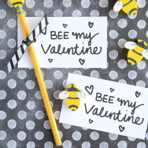 """Bee"" My Valentine - free printable Valentine's. So cute with bee erasers for little kids or beeswax lip balm for big kids!"