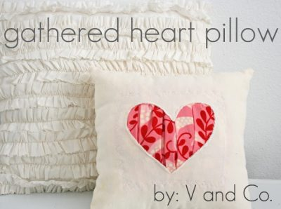 Gathered Heart Pillow Sewing Pattern; cute for Valentines Day