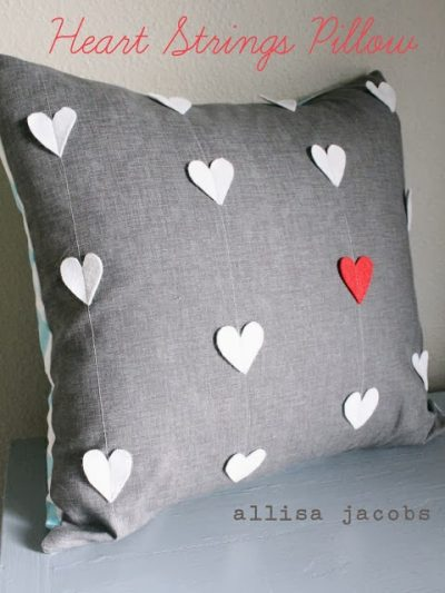 Heart Strings Pillow; DIY Valentines Day Sewing Pattern