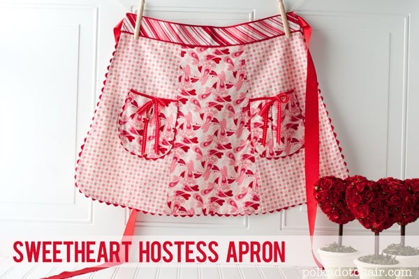 Cute Sweetheart Hostess Apron Sewing pattern, perfect for Valentines Day