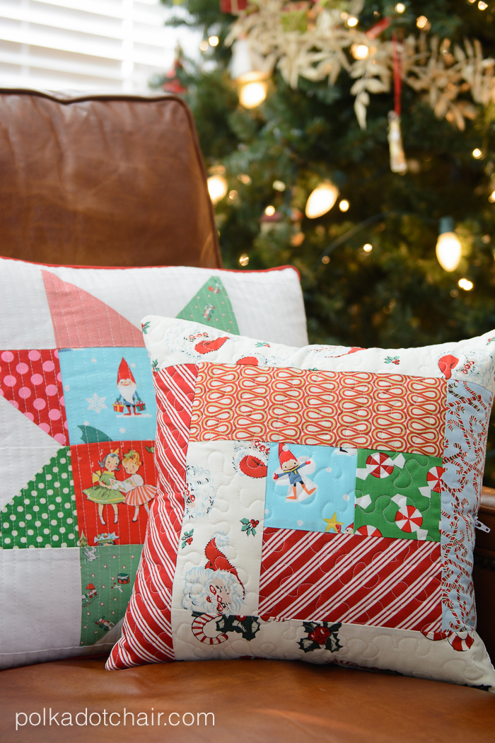 Tutorial for a simple quilted pillow. A great way to use up scraps, would be cute to change out for the different Holidays.