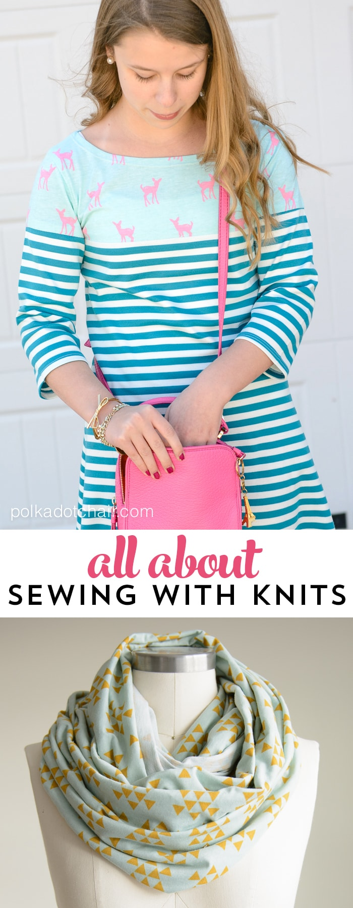 5 project to try out when sewing with knit fabrics, along with knit sewing tips and techniques
