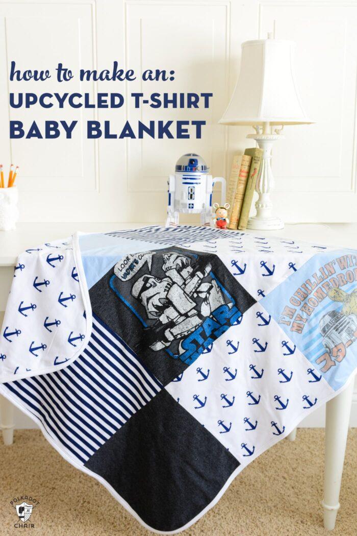 t-shirt quilt baby blanket on white desk in bedroom