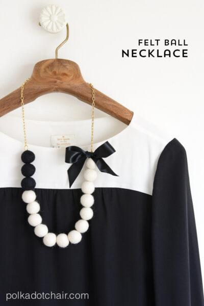 DIY Felt Ball Statement Necklace tutorial on polkadotchair.com