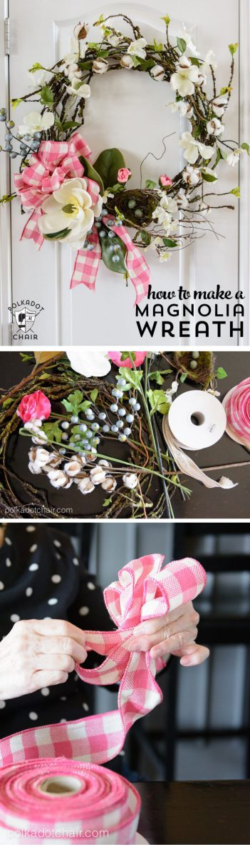 Make a Spring Wreath for your front door with this DIY Magnolia Wreath Tutorial. #wreathDIY #springwreath #MagnoliaWreath #MagnoliaHomeDIY