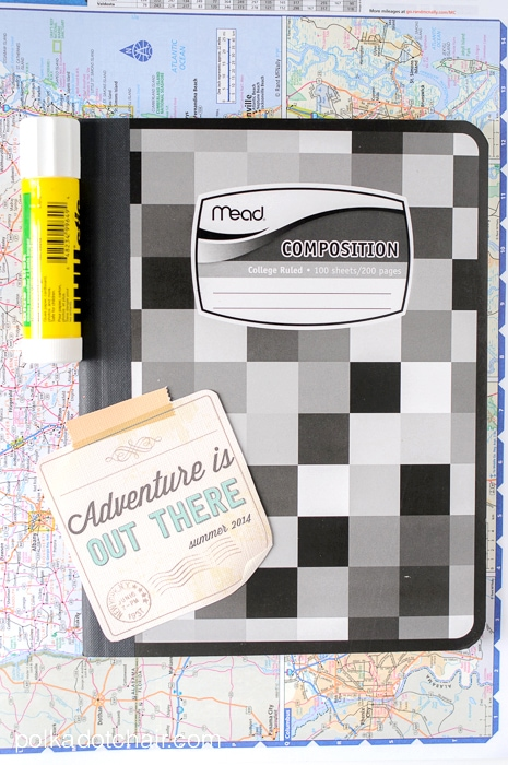 """DIY Summer Journal and Free """"Adventure is Out There"""" Printable on polkadotchair.com"""