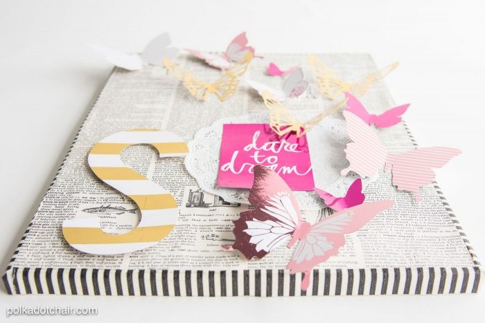 DIY Butterfly Artwork made with Heidi Swapp butterflies and foil machine.