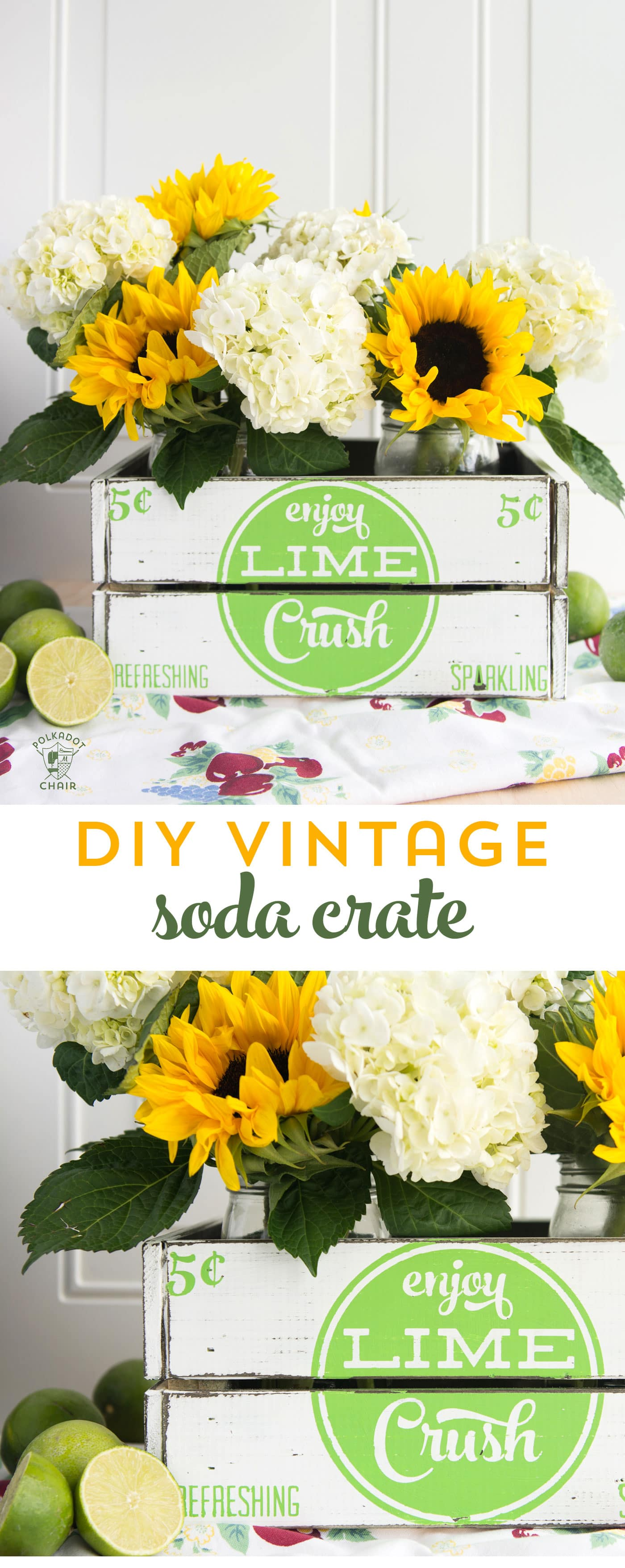 learn how to make your own hand painted vintage soda crate using a stencil. Such a cute project for summer, love the vintage farmhouse style of this crate!