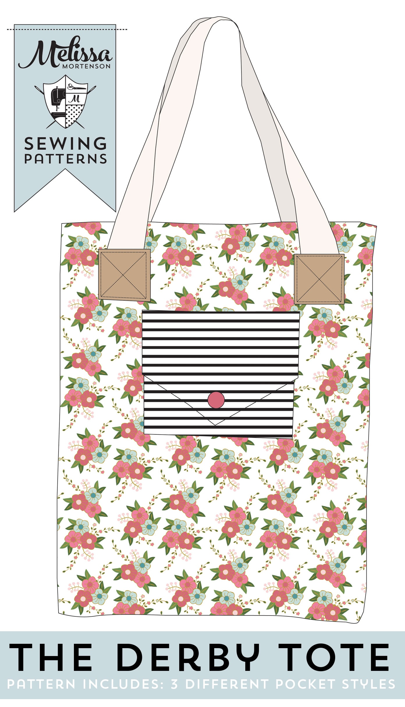 The Derby Tote, Tote bag sewing pattern by Melissa Mortenson of polkadotchair.com