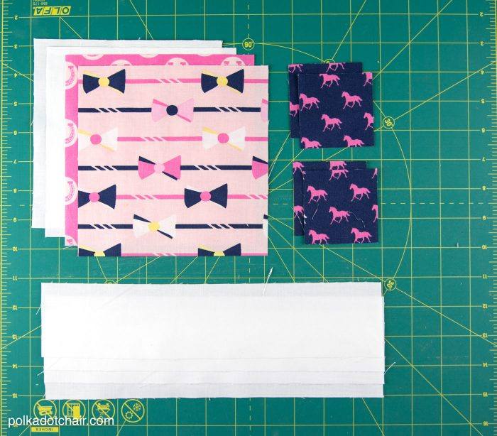 quilt fabrics on cutting mat