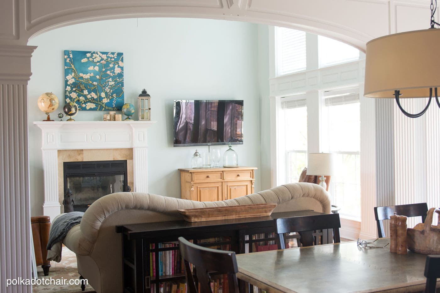 Great ways to update your Living Room with lots of decor Ideas, the paint color on the walls is Serene Journey by BEHR