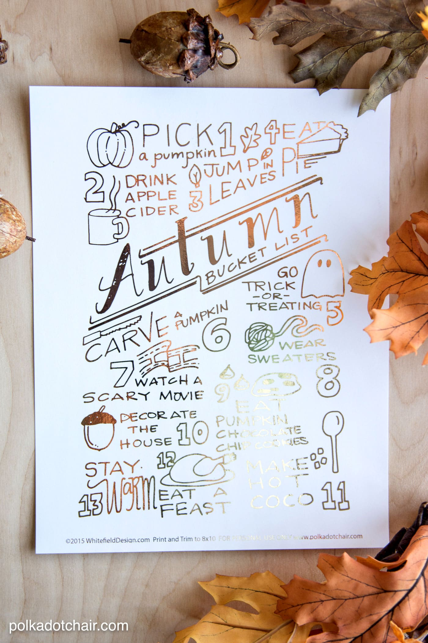 The Ultimate Autumn and Fall Bucket List - you can download a copy of it on polkadotchair.com