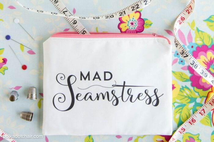 """Sewing tutorial to make this """"Mad Seamstress"""" zip pouch. You can download the image and print it at home on fabric yourself!"""