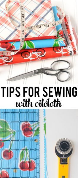 Tips for Sewing with Oilcloth and other coated fabrics, such as laminated cotton