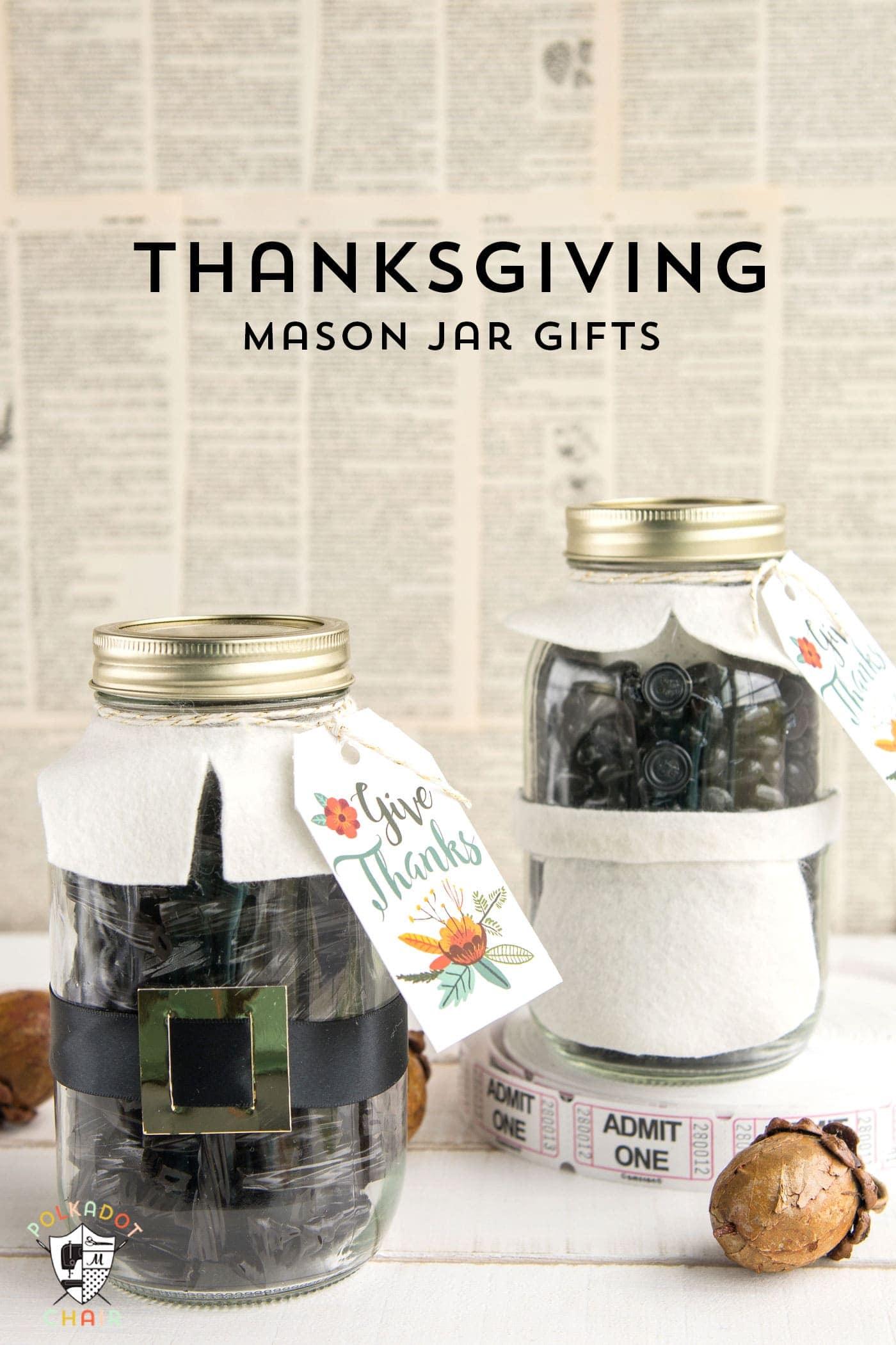 Cute Thanksgiving Pilgrim Mason Jar Gift Idea, would be cute for a hostess or teacher gift.
