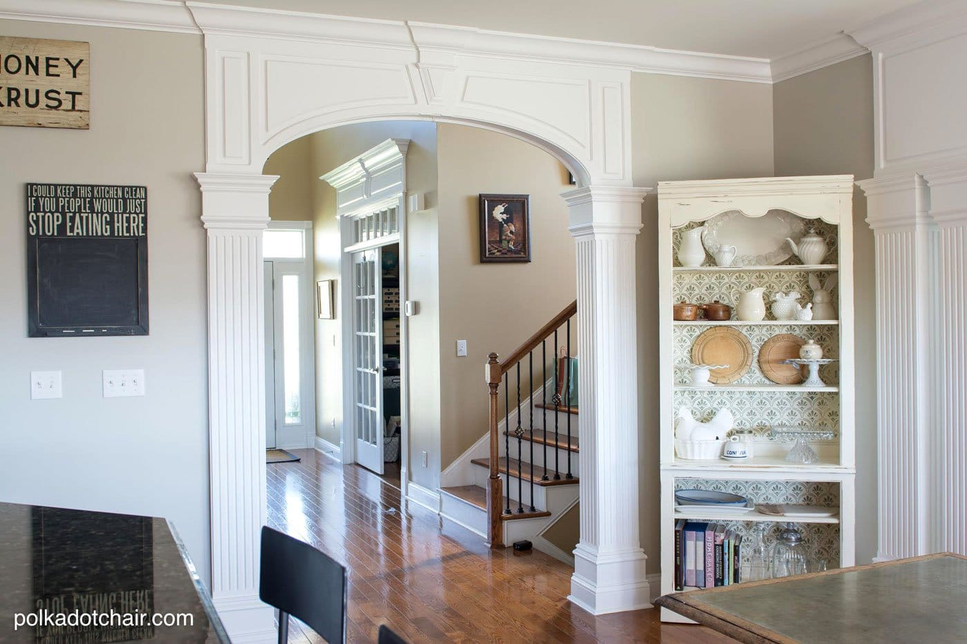 Kitchen Redo, White Painted Cabinets, Gray Island and Green Glass Tile Backsplash