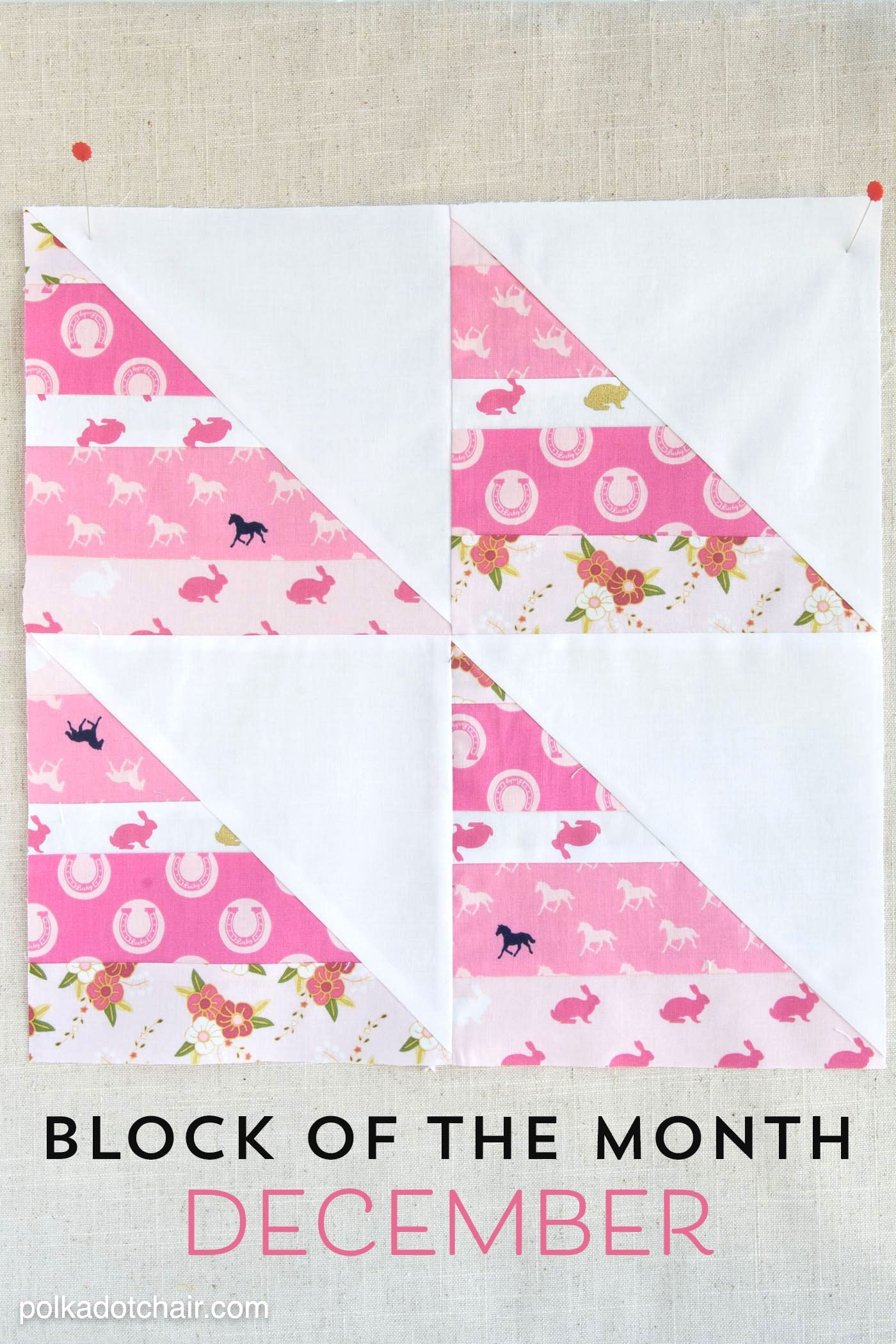 Instructions for the December Block of the Month; a String Half Square Triangle Quilt block on polkadotchair.com - it's free! - I'm totally doing this..