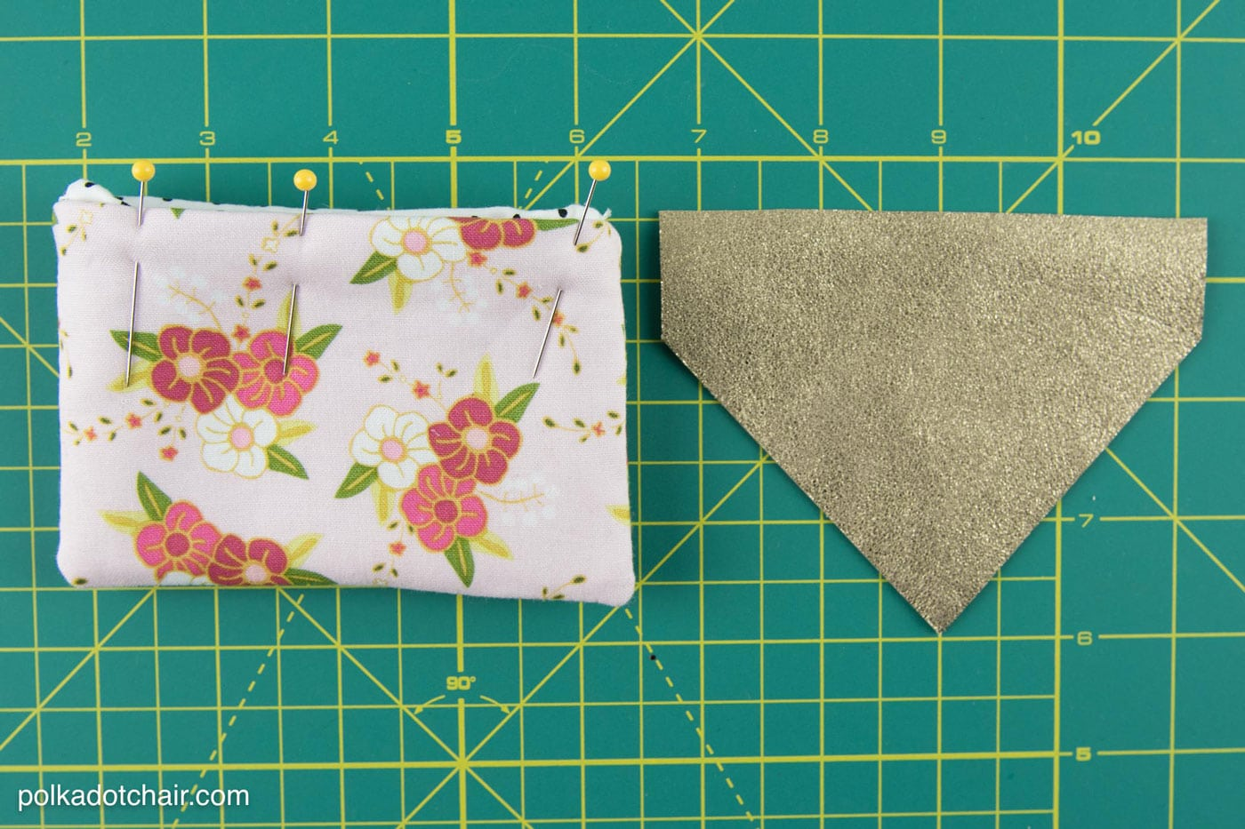 Free Sewing Pattern for a fabric and leather earbuds carrying case, would also be a great business card holder, by polkadotchair.com
