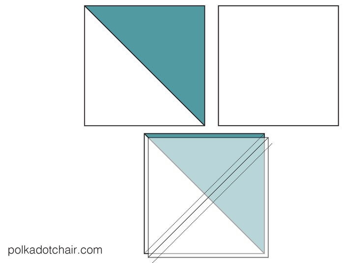 The January Block of the Month on polkadotchair.com - Learn how to make a simple turnstile quilt block - complete one quilt block each month to make yourself a quilt!