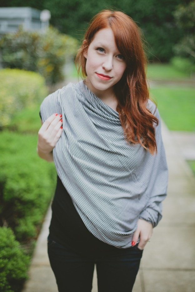 Sewing Tutorial for an Infinity Scarf that doubles as a nursing cover up
