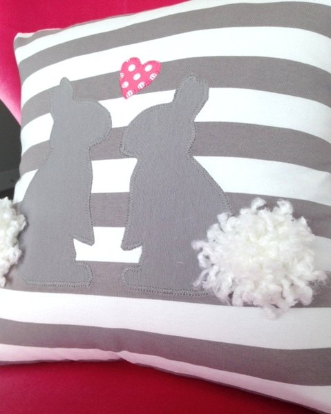 Bunny Pillow sewn from Knit Fabrics- free pattern from Riley Blake Designs
