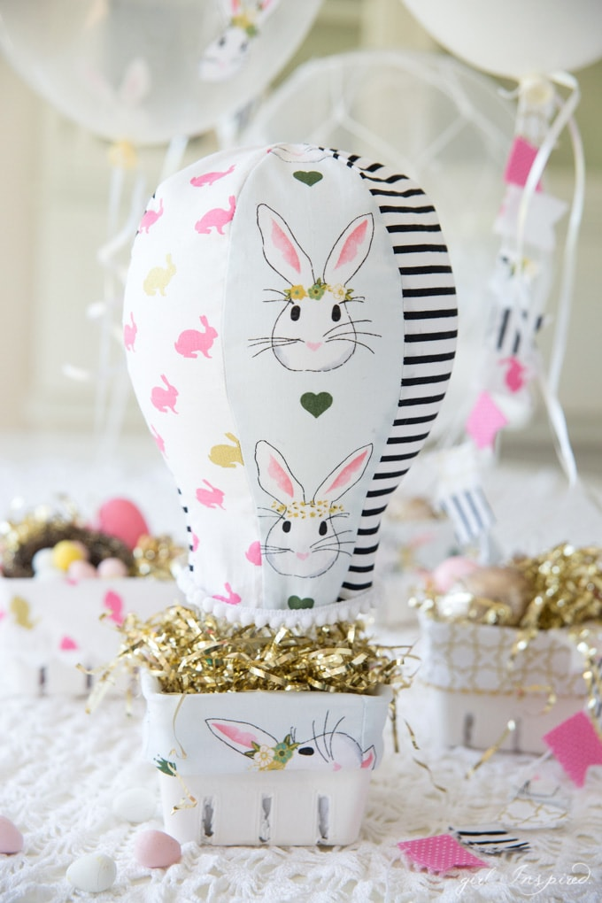 DIY Hot Air Balloon Easter Basket Ideas, and Easter basket liner pattern from Girl Inspired
