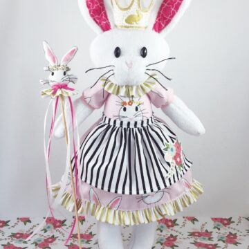 Bunny Queen Phoebe Softie by KidGiddy - using Wonderland Fabric