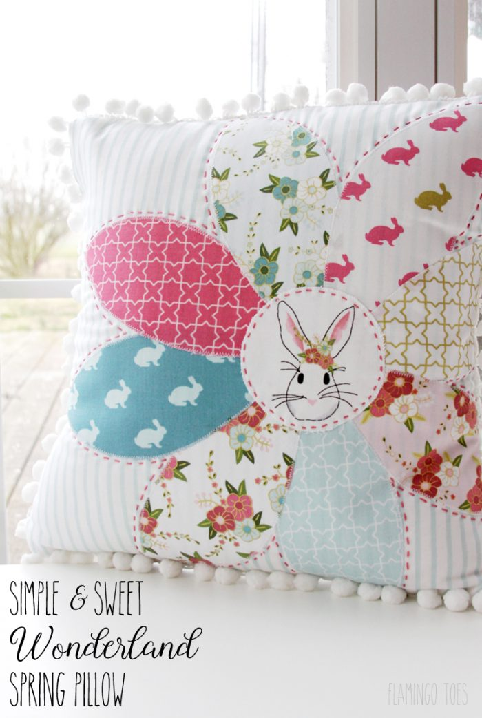 Simple and Sweet Wonderland Spring Pillow Tutorial by Bev of FlamingoToes.com