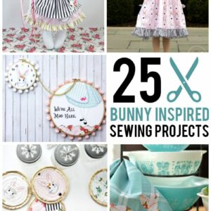 "More than 25 Bunny ""Inspired"" Sewing Projects using Wonderland Fabric ; cute girls dress ideas, tote bags, bunny softie patterns and more!"