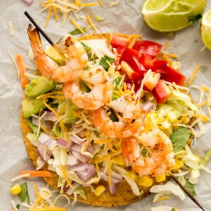 Grilled Shrimp Tostadas Recipe- great easy, fresh and simple Mexican food recipe for weeknights!