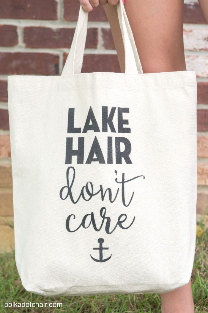 """DIY """"Lake Hair Don't Care"""" Stenciled Summer Tote bag with free svg file download by Melissa of polkadotchair.com"""