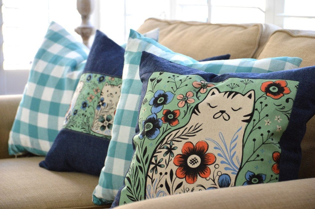 How to Sew a Pillow - made with cute Cotton + Steel From Porto with Love fabric by Jedi Craft Girl