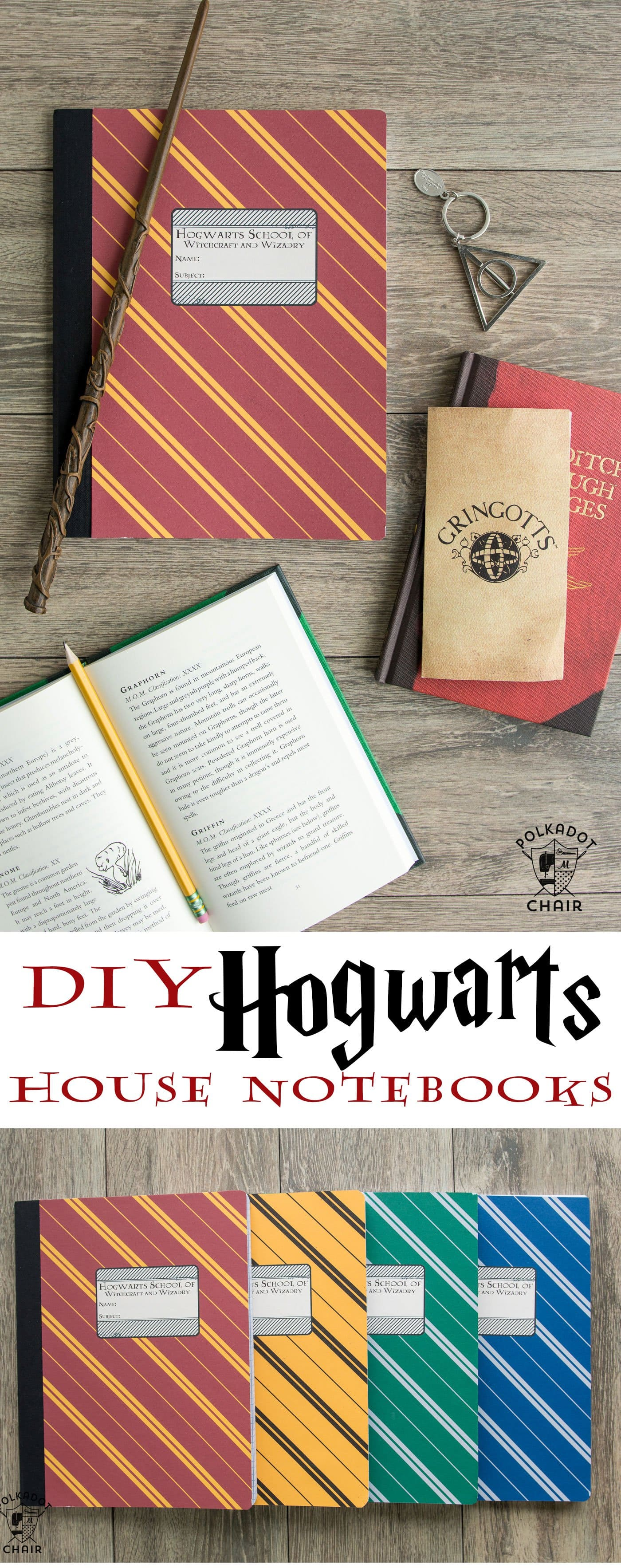 DIY Harry Potter Hogwarts Notebooks; with free printable covers for each house on polkadotchair.com