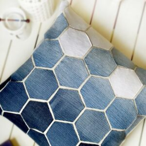 Old Jean Hexagon Pillow Tutorial