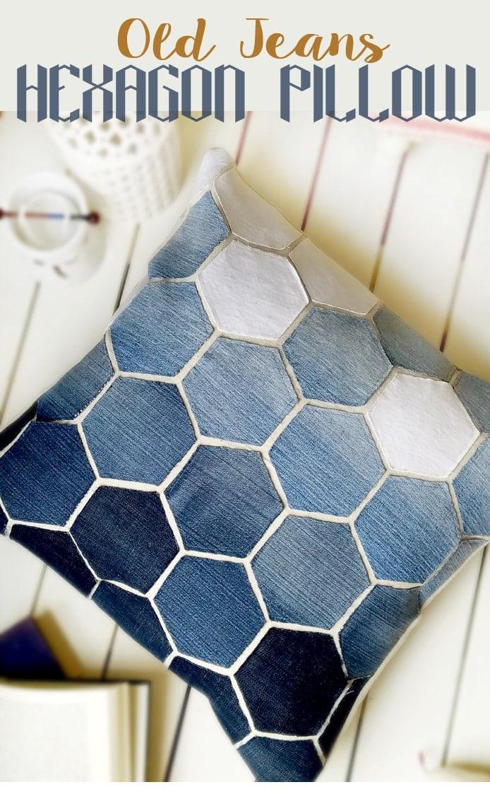Old Jean Hexagon Pillow Tutorial